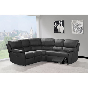 Black Leather Recliner Corner Sofa